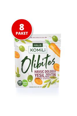 Komili Olibites - Komili Olibites Havuç Dolgulu Yeşil Zeytin 8x30g