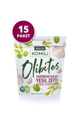 Komili Olibites - Komili Olibites Sarımsak Dolgulu Yeşil Zeytin 15 x 30g